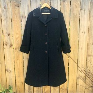 🍁Halston | Long Wool Trench Coat Size 8P